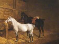 PAINTING ANIMAL LAURENT AGASSE TWO HORSES IN STABLE ART PRINT LAH446B