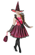 Pink Witch Womens Halloween Fancy Dress Costume Includes Hat & Bag P7994