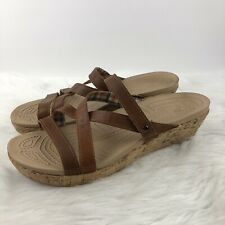 Crocs A-Leigh Brown  Leather Cork Wedge Sandals 11