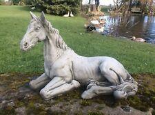 STONE GARDEN HORSE STATUE ORNAMENT