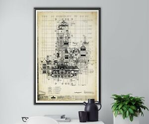 """Tower of Terror Plaza Blueprint POSTER! (up to 24"""" x 36"""") - 1994 - Disney World"""