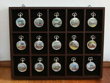 ATLAS EDITIONS POCKET WATCH COLLECTION IN DISPLAY CASE 15 pieces