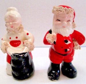 Vintage Christmas Salt Pepper Set Santa and Mrs. Clause 50s Era Kreiss 1956