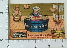 Kendall Mfg Co Soapine French Laundry Soap Lady & Children In Tubs F66