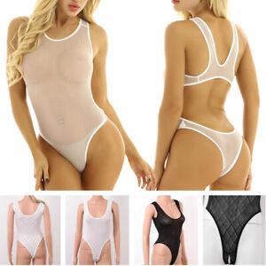 Women One-piece Leotard Crotchless Bodysuit Sleeveless Romper Sleepwear Lingerie