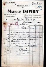 """PARIS (XI°) EPICERIE FINE & VINS """"Maurice DAVION"""" en 1935"""