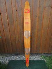 """VINTAGE Wooden Single Water Ski Waterski 66"""" Long SLALOM CLINT WARD SPEED MASTER"""