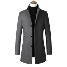 Men's Trench Coat Woolen Stand Collar Jacket Single-Breasted Long Sleeve Outwear