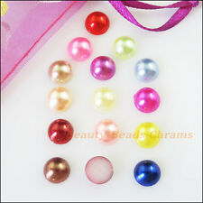 100 New Charms Mixed Acrylic Plastic Faceted Hemisphere FLATBACK 8mm