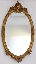 Grand Miroir Ovale Napoléon III En Bois Et Stuc Doré à La Feuille, Rocaille