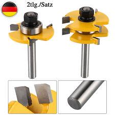 2X Nut-und Federfräser Set 8mm Schaft Holz T-Fräser Holzbearbeitung Werkzeug DPD