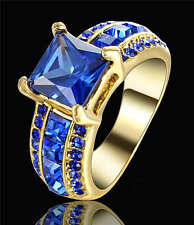 Gorgeous Blue Topaz 18K yellow Gold Filled Womens Fashion Wedding Ring Size 7