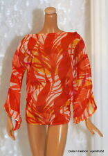Basic Model Muse Barbie Doll Sheer Orange Print Design CoverUp Top Blouse Shirt