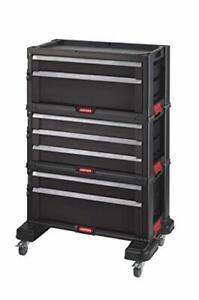KETER | Module Servante 7 tiroirs , Noir, 56,2 x 28,9 x 74,2 cm, Plastique
