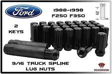"32 PC 1988-1998 FORD F 250 F 350 8 LUG BLACK SPLINE LUG NUTS 9/16-18 2"" TALL"