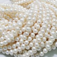 Wholesale AAA++ Natural Real White Freshwater Pearl Roundish Loose Beads 15""