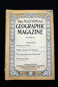 RARE SEPTEMBER 1914  NATIONAL GEOGRAPHIC EUROPE ARTICLE