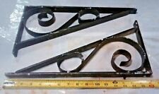 Set (2) Vintage Black Scrolled Wrought Iron Shelf Brackets Natural Chipped Paint