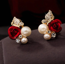 Ladies Womens Crystal Earring Stud Red Rose Flower Pearl Imitation Stone Gold
