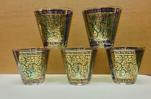 5 Paisley old fashioned Georges Briard cocktail glasses Barware mid century