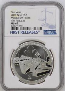 2021 Niue $2 Star Wars Millennium Falcon Silver COIN NGC MS 69 FR