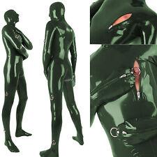 2018 Latex Rubber Metal Green Bodysuit Bandage Catsuit Sexy Suit Size XXS-XXL