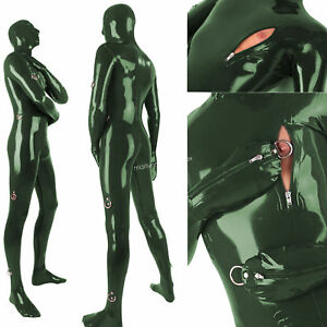 2018 Latex Rubber Metal Green Bodysuit Bandage Catsuit Sexy Suit Size XXS-XXL