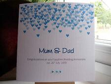 Handmade Personalised Sapphire Blue 45th or 65th Wedding Anniversary Card