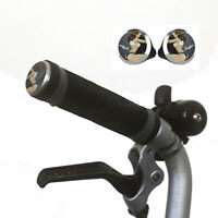Silicone M/H/S Grips + Aluminium Handlebar Plugs for BROMPTON Black