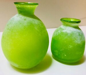 PAID $49.90 Beautiful Green Glass Vase set of 2