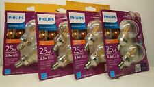 4 - 2 PACK Philips Warm Glow G16.5 Candelabra Dimmable LED Decorative Light Bulb