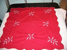 Vintage Christmas Table Cloth Linen 30 x 29 inches White leaf Stitching