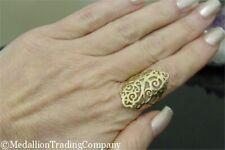 Big 14k Yellow Gold Eternagold Filligree Swirl 1.2 Inch Shield Ring Size 7