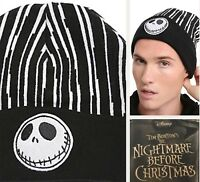 Disney The Nightmare Before Christmas Beanie Hat Jack Pin Striped Knit Cap NWT