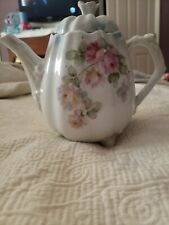 """Vtg Teapot  Pink Roses Pumpkin Shape Made In Germany 7"""" Tall footed"""