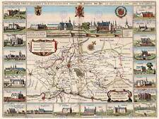 MAP ANTIQUE YPRES BELGIUM NETHERLANDS CITY PLAN SURROUND PRINT POSTER BB8223