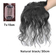 Curly Wave 100% Human Hair Topper Silk Women Top HairPiece Replacement