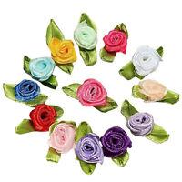 100pcs Mini Satin Ribbon Rose Flower Leaf Wedding Decor Appliques Sewing DI F1C4