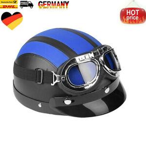Motorrad Leder Retro Helm Motorradhelm Oldtimerhelm Halbschale Schutzbrillen DHL