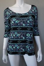 WE THE FREE PEOPLE Blue Black Turquoise Floral Soft 3/4 Sleeve Top - size S