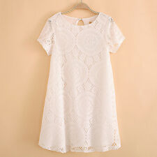 Summer Women Floral Lace Short Sleeve Cocktail Evening Party Casual Mini Dress