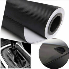 "24""x200"" 3D Black Carbon Fiber Vinyl Car Wrap Sheet Roll Film Sticker Decal"