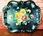 Antique Hand Painted Floral W Roses Large BIG  Tole Toleware Chippendale Tray