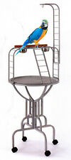 Elegant Design Metal Long Neck Ladder Toy Hook Tray Cups Parrot Bird Stand 379