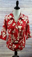 Talbots Woman Stretch 3/4 Sleeve Wrap Top Red White Floral Size 14W