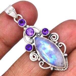 Rainbow Moonstone - India & Amethyst 925 Silver Pendant Jewelry BP105916