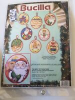 Nip Bucilla The Best of Christmas Set of 8 Counted Cross Stitch Ornaments Vtg