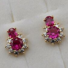 Crazy Nice Calabash Ruby Red Gems Jewelry Yellow Gold Filled Stud Earrings h2692