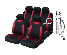9 PCE Sports Carnaby Red / Black CAR Seat Covers + Matching Mat Set For All Audi