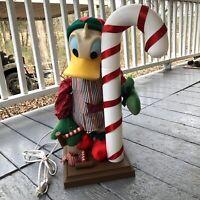 1994 Santa's Best Disney Donald Duck Animated Figure Works Candy Cane Handyman
